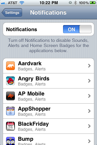 iPhone, apps, notifications