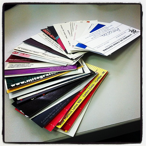 wad of business cards