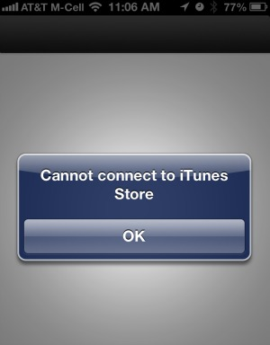 Passbook Cannot Connect to iTunes Store