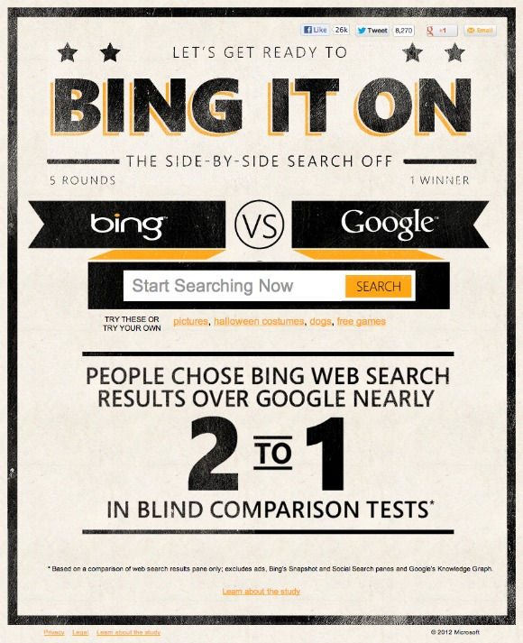 Bing vs Google