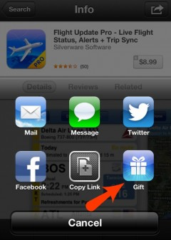 Sending an app from your iphone