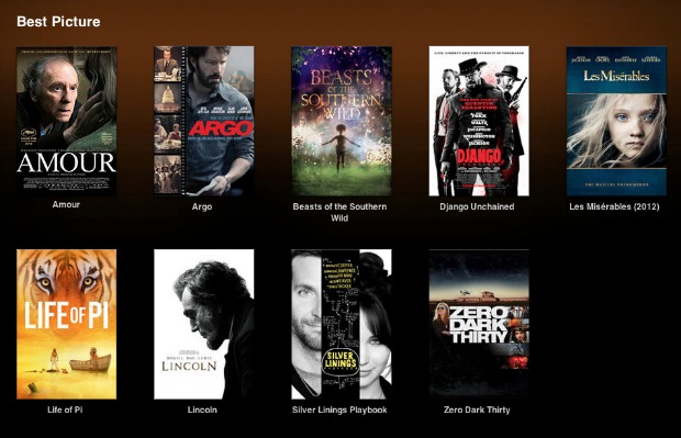 iTunes Oscars Best Pictures 2013