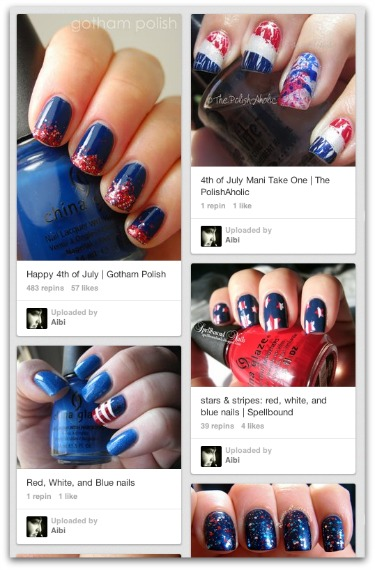 4th of July nail decoration Pinterest