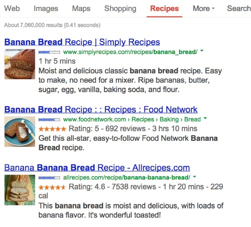 Google search cooking