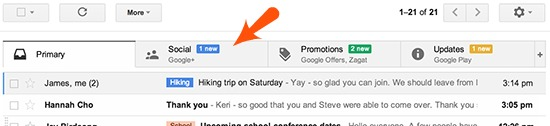 Social Tab on Gmail