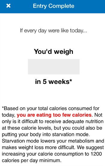 MFP Warning below 1200 calories