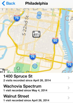 iPhone Frequent Locations Map