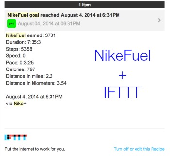Nike Fuel Goals IFTTT