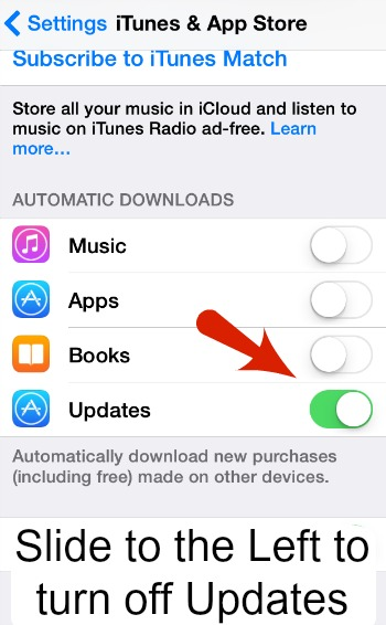 iPhone Automatic Updates Off