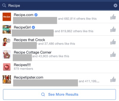 Facebook Search Old Style