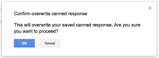 Override Gmail Canned Response