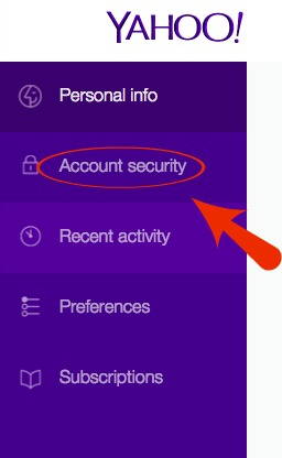 Yahoo Account Security Menu