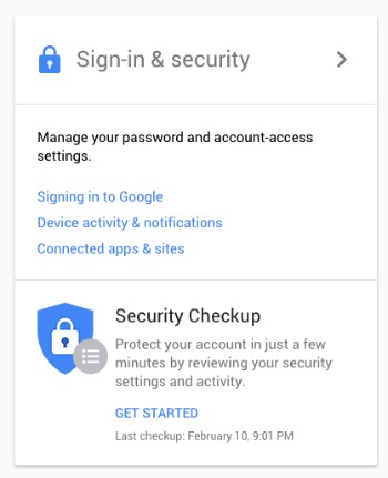 Sign In and Security Google My Account