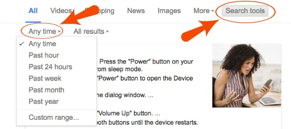 Google Search Filter Settings