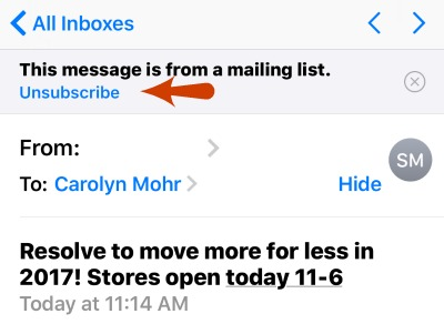 iPhone Mail App Unsubscribe