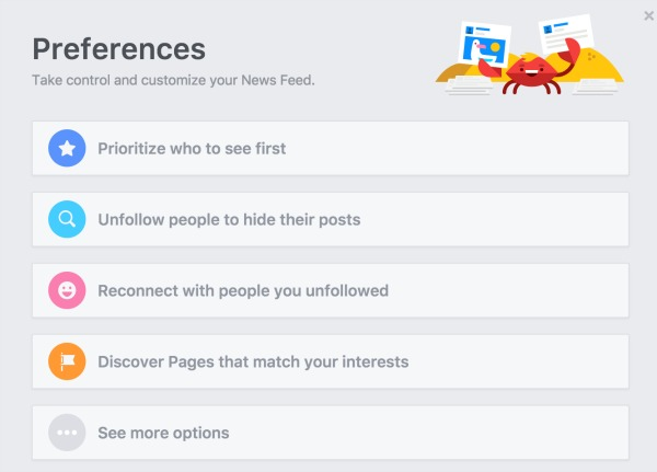 Facebook News Feed Preference Settings