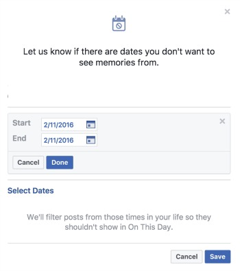 Block Dates from On This Day in Facebook