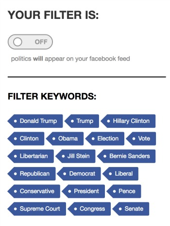 Keywords Blocked in Remove All Politics From Facebook Extension