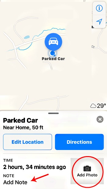 iPhone Parked Car Map