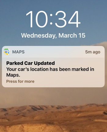 iPhone Notification Parked Car