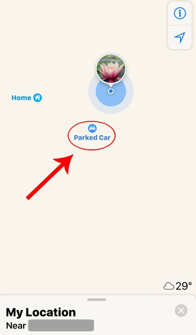 iPhone Find My Parked Car Map