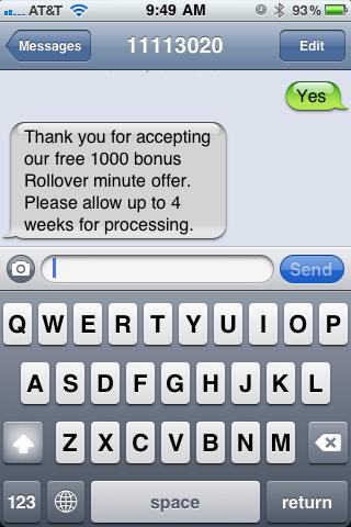 AT&T, Bonus 1000 Minutes