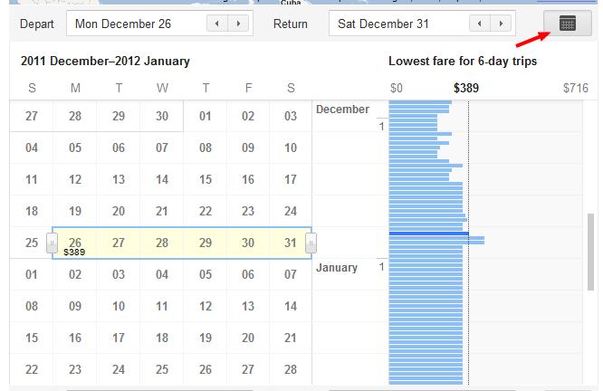 Google Flights flexible dates