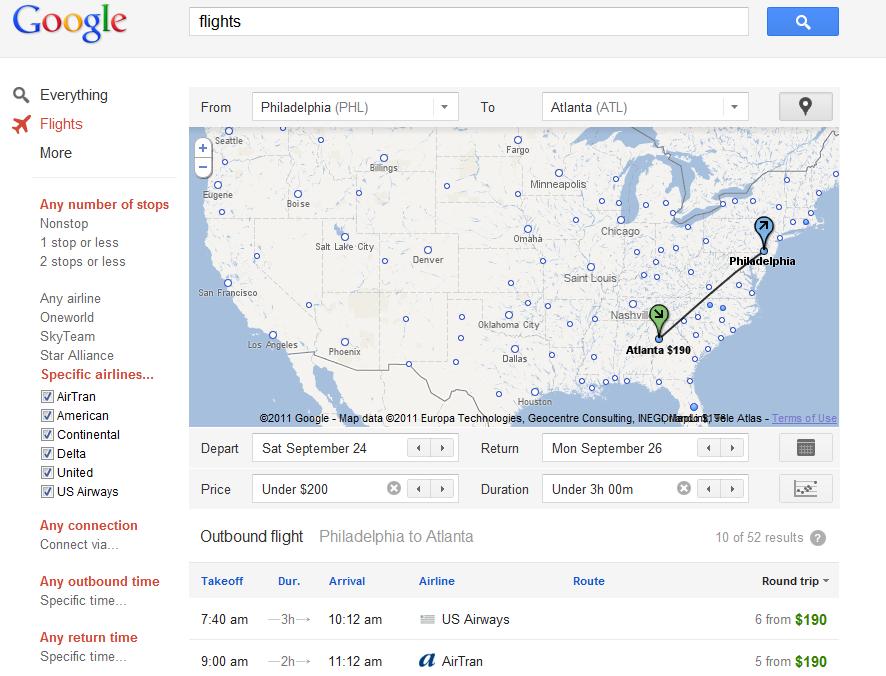 Google Flights Philadelphia