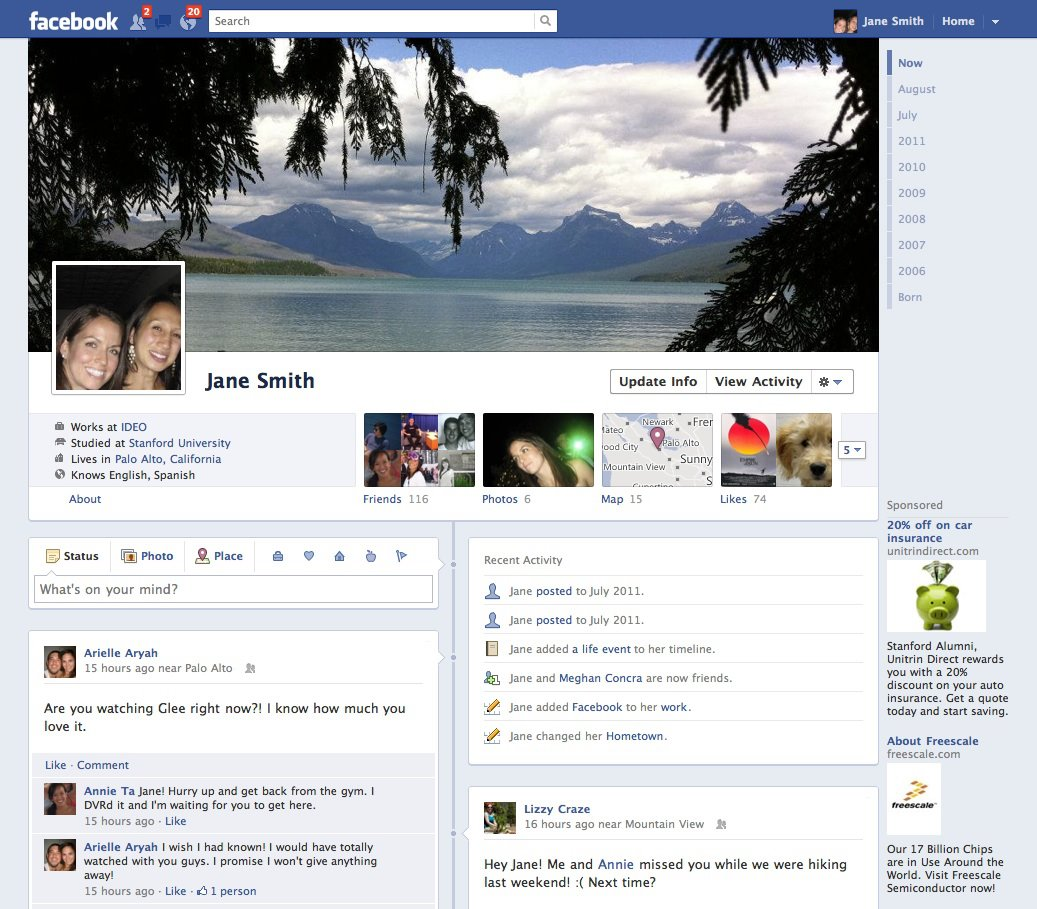 F8 Facebook Changes – Sharing Is Caring? Facebook Page Timeline Example