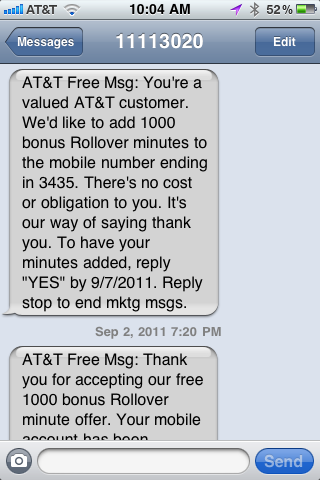 1000 Free Rollover Minutes