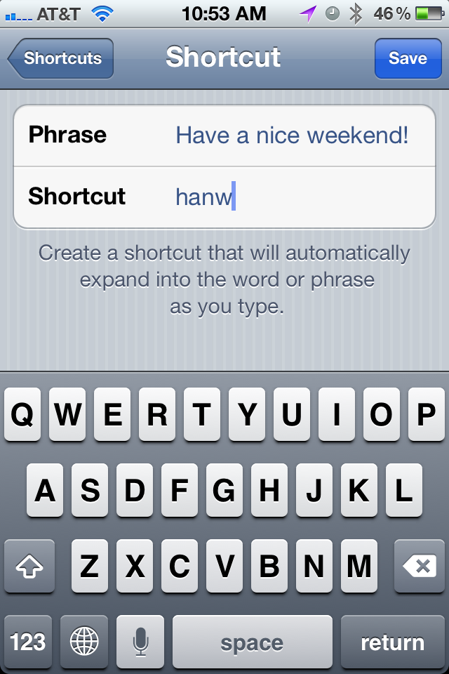iPhone Shortcut