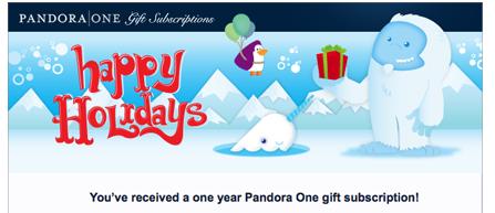 Pandora Radio Gift Certificate