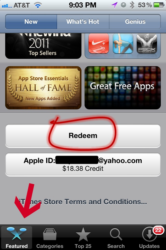 iPhone iTunes Gift Card Redeem