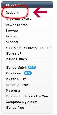 iTunes Redeem Promo Code