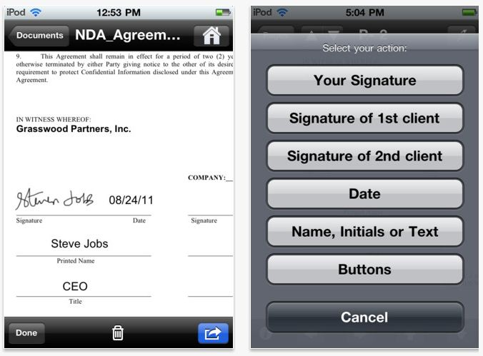 Electronic signatures app
