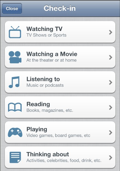 GetGlue Check In Categories