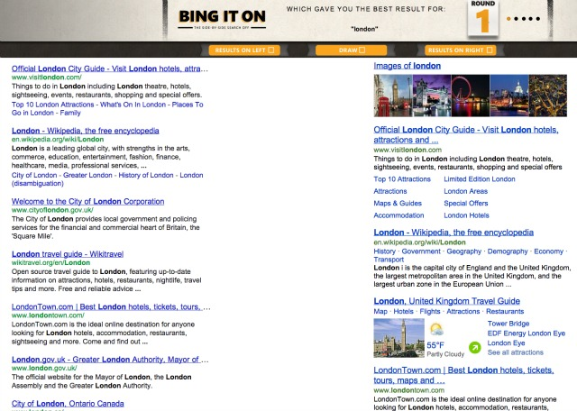 Search engine results Bing Google