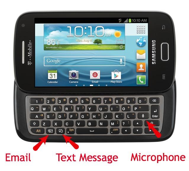 Samsung Relay special keys