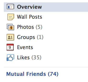 Facebook Friends commonality