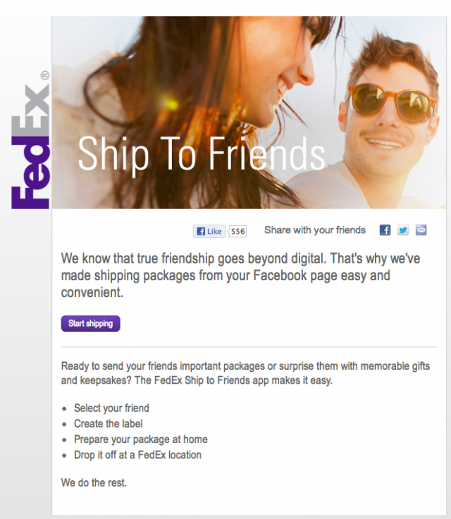FedEx Ship to Facebook Friends