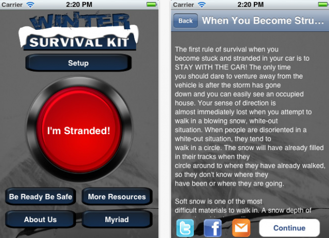 Winter Survival Kit Safety App