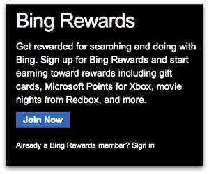 Sign up for Bing Rewards