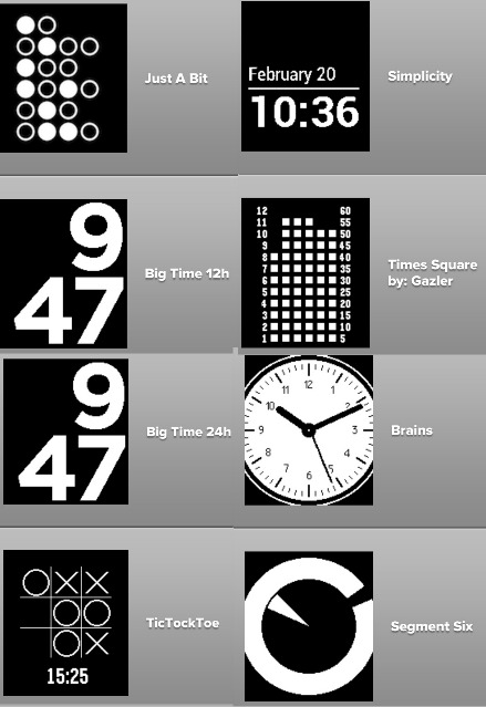 Pebble Watch Face choices
