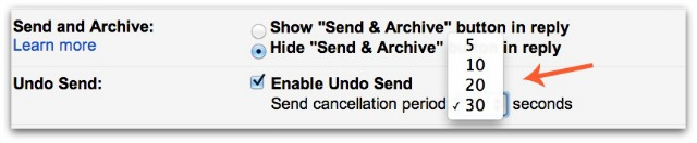 Gmail Undo Send Time Period