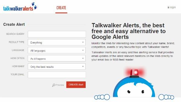 TalkWalker Alert search terms