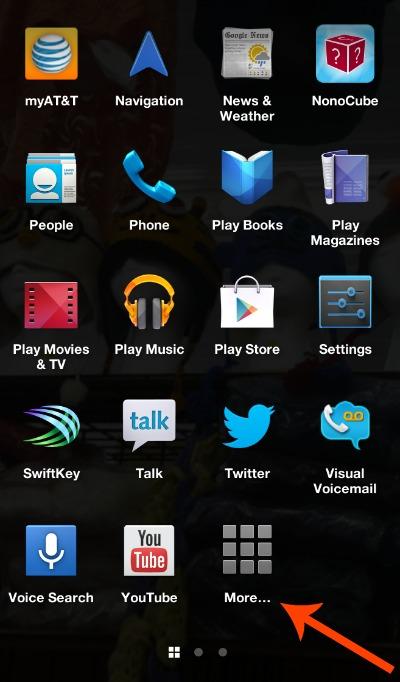 Facebook Phone App Drawer