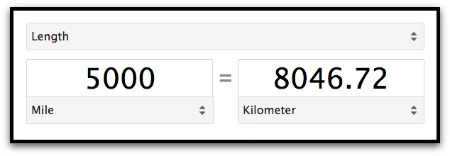 Google miles to kilometers
