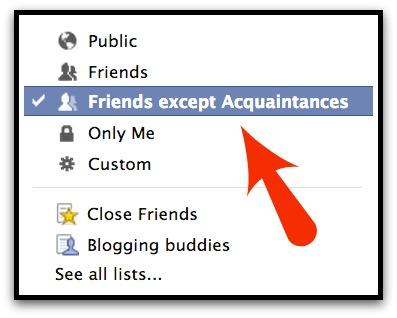 Facebook Post to Friends Not Acquaintances