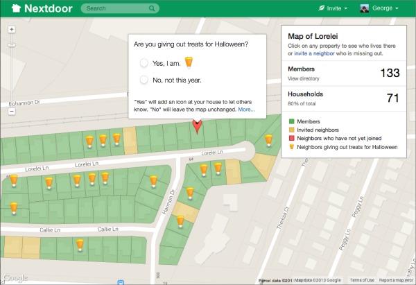 Nextdoor neighborhood Halloween Map