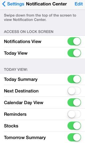 Notification Center apps